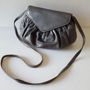 Bally Mini Crossbody Bag Grey Leather Vintage